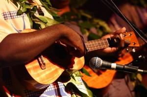 Ukulele player with ukulele