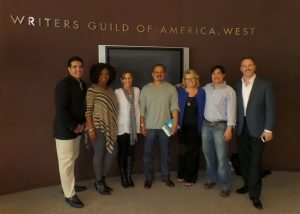 CLH Writers Immersive Finalists Tour the WGA headquarters in Los Angeles, January 2014